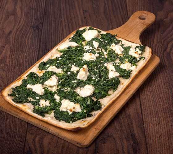 Flammkuchen-Catering: Flammkuchen mit Spinat